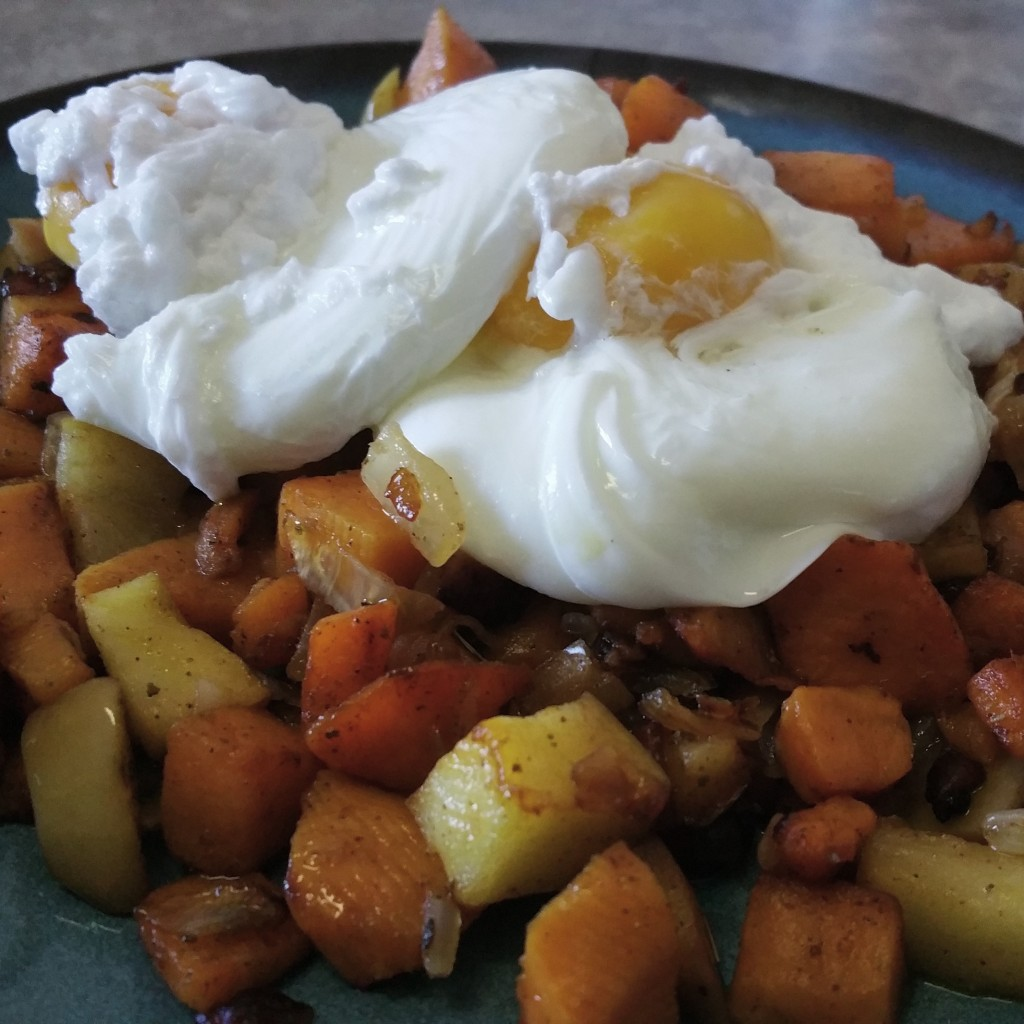 Apple Sage Sweet Potato Hash with Poached Eggs