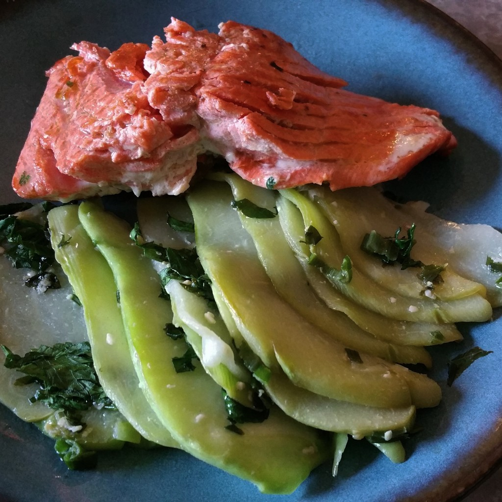 Pan Seared Salmon and Chayote with Herbs
