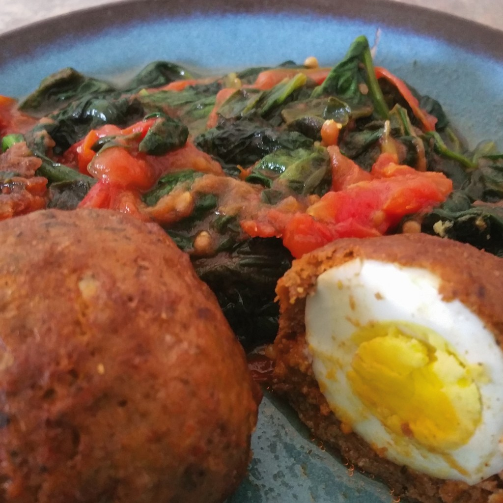 Scotch Egg with Wilted Spinach and Tomatoes