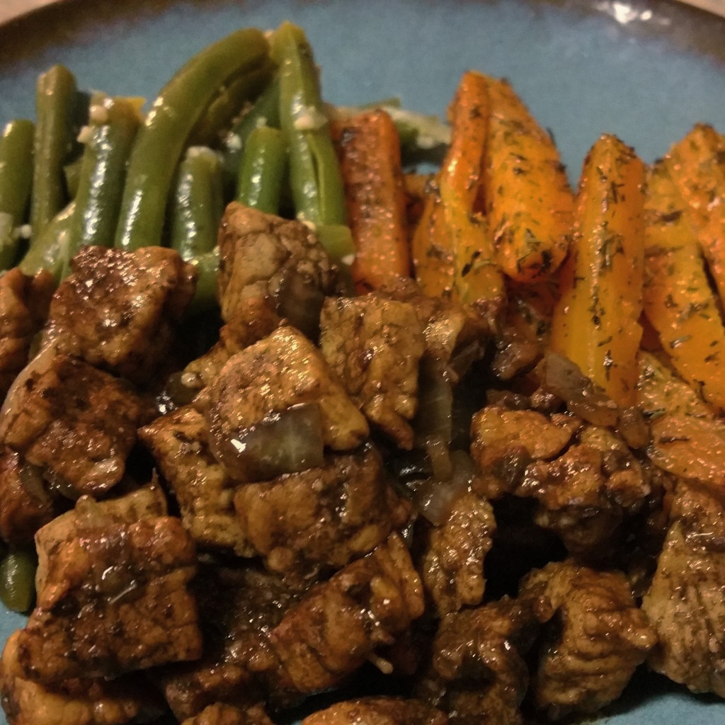 Balsamic Glazed Pork with Roasted Carrots and Green Beans
