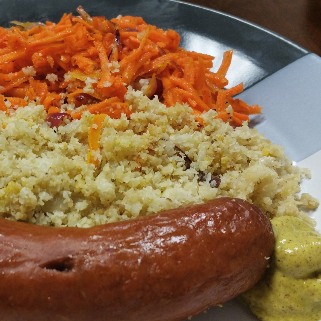 Beef Knockwurst, Caulfilower Rice and Carrot Salad