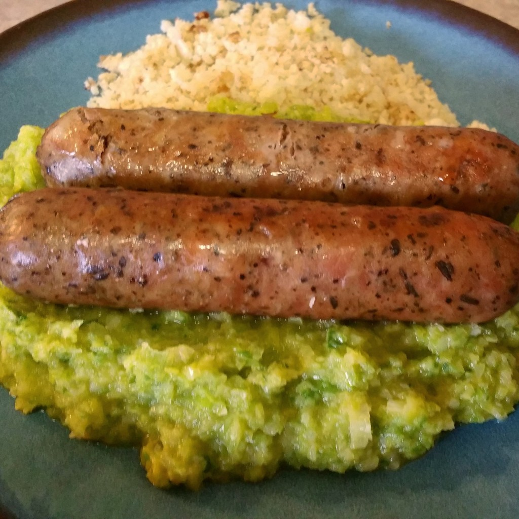 Mushroom Chicken Sausage with Leek Puree and Cauliflower Rice