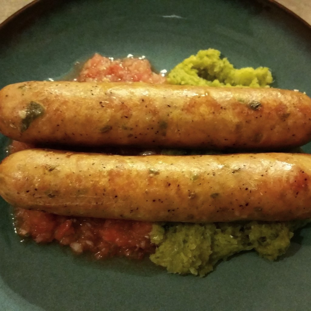 Italian Chicken Sausage on Hoimemade Salsa and Leek Puree