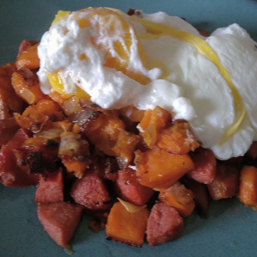 Sweet Potato and Beef Sausage Hash with Poached Eggs