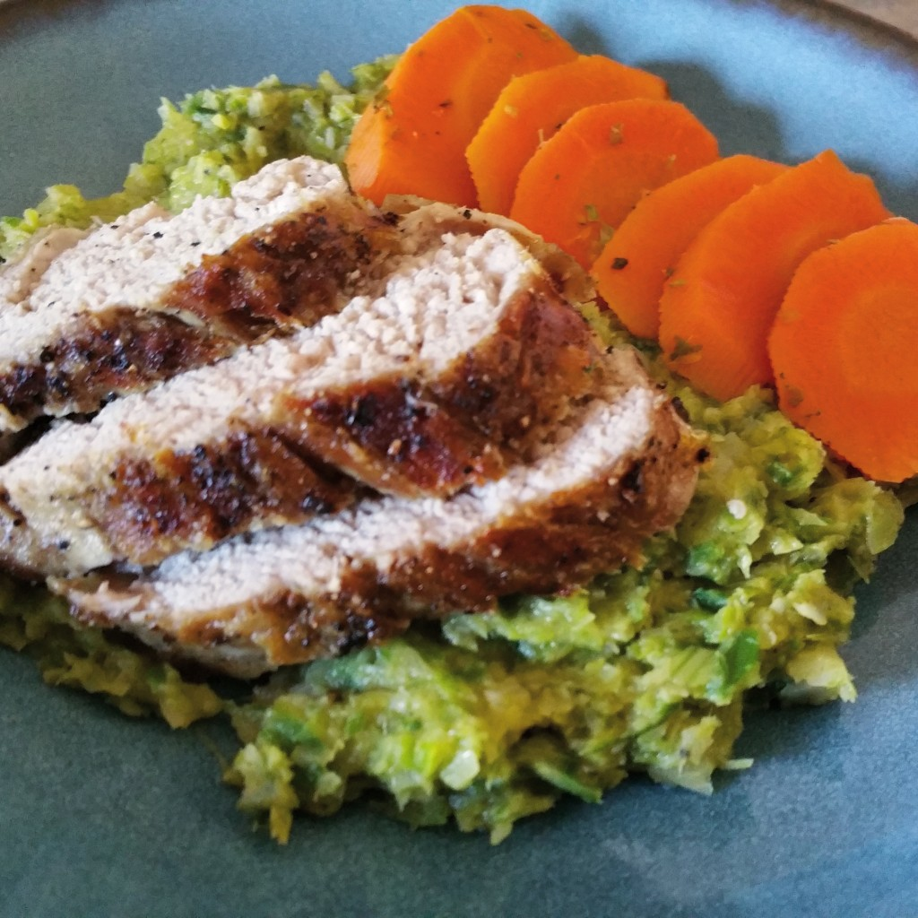 Roasted Pork Tenderloin on Leek Puree
