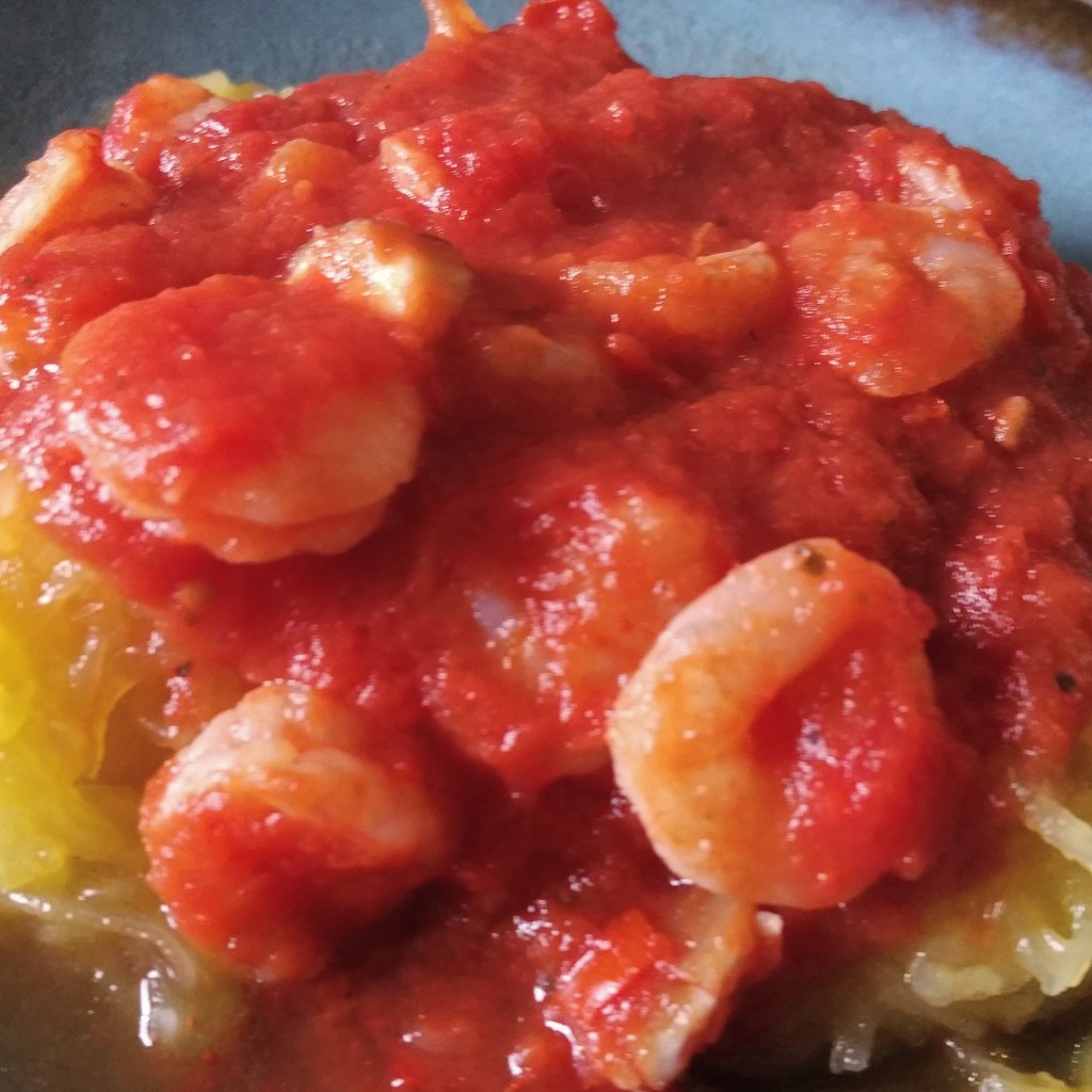 Spaghetti Squash with Mushroom and Shrimp Marinara