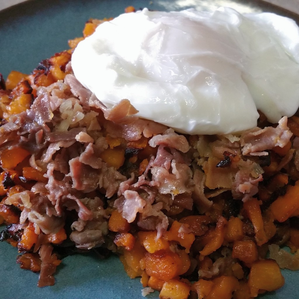 Sweet Potato Hash with Prosciutto and Poached Egg