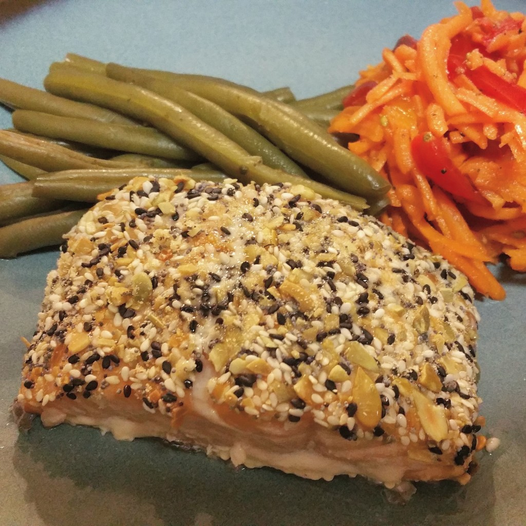 Seed-Crusted Salmon with Carrot-Tomato Salad and Green Beans